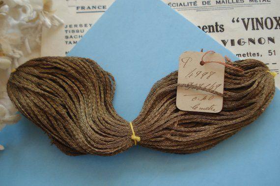 "18/"" Antique Vintage UNUSED French Copper Metallic Mesh Tricotene Victorian"