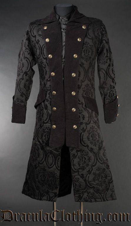 bad4c7138af Black Brocade Long Pirate Coat
