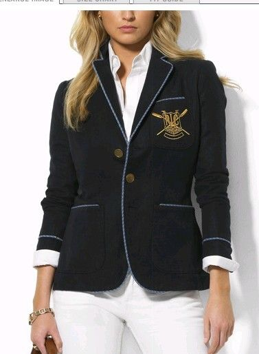 Ralph Lauren Women's 2011 Crested Blazer in Navy — with a white button-down  and wide-leg white pants