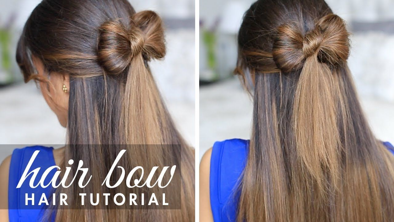 Halfup hair bow cute hair tutorial peinados rápidos pinterest