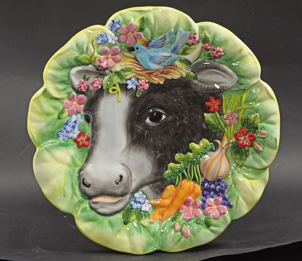 Fitz and floyd classics country chic ceramic cow plate