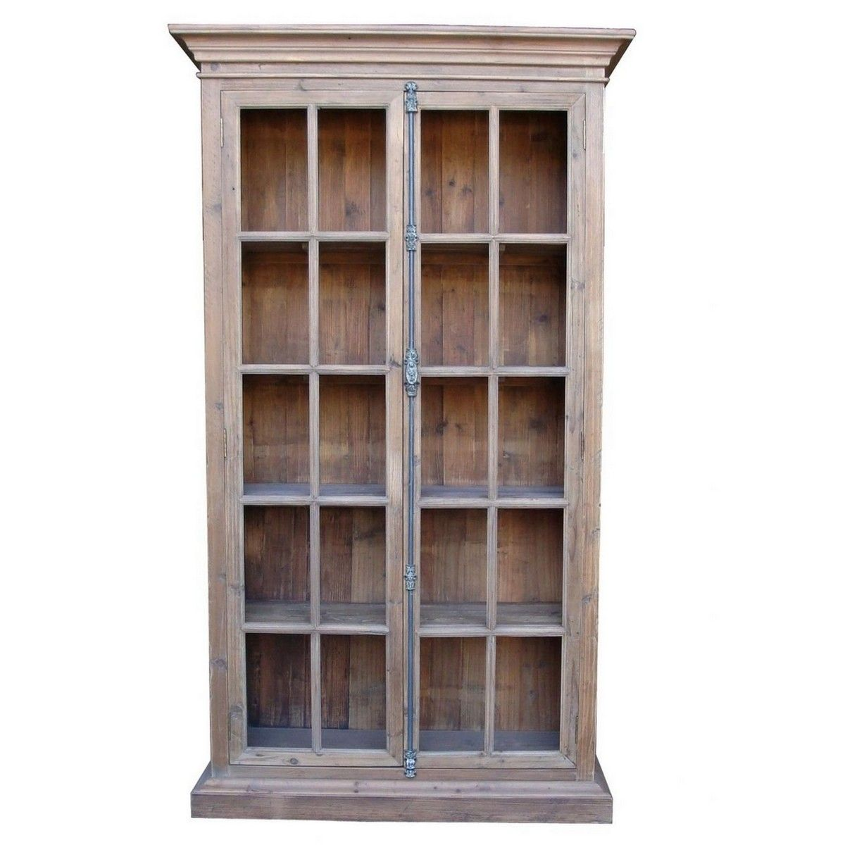French Country Reclaimed Library Cabinet Vitrine Bookcase