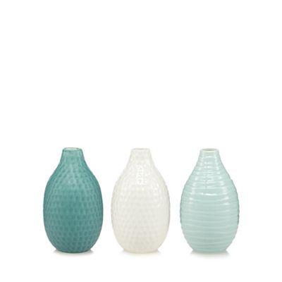 Debenhams Set Of Three Green Ceramic Textured Vases Debenhams