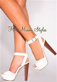 50a46aa5396 White Ankle Strap Wooden High Heel Sandals
