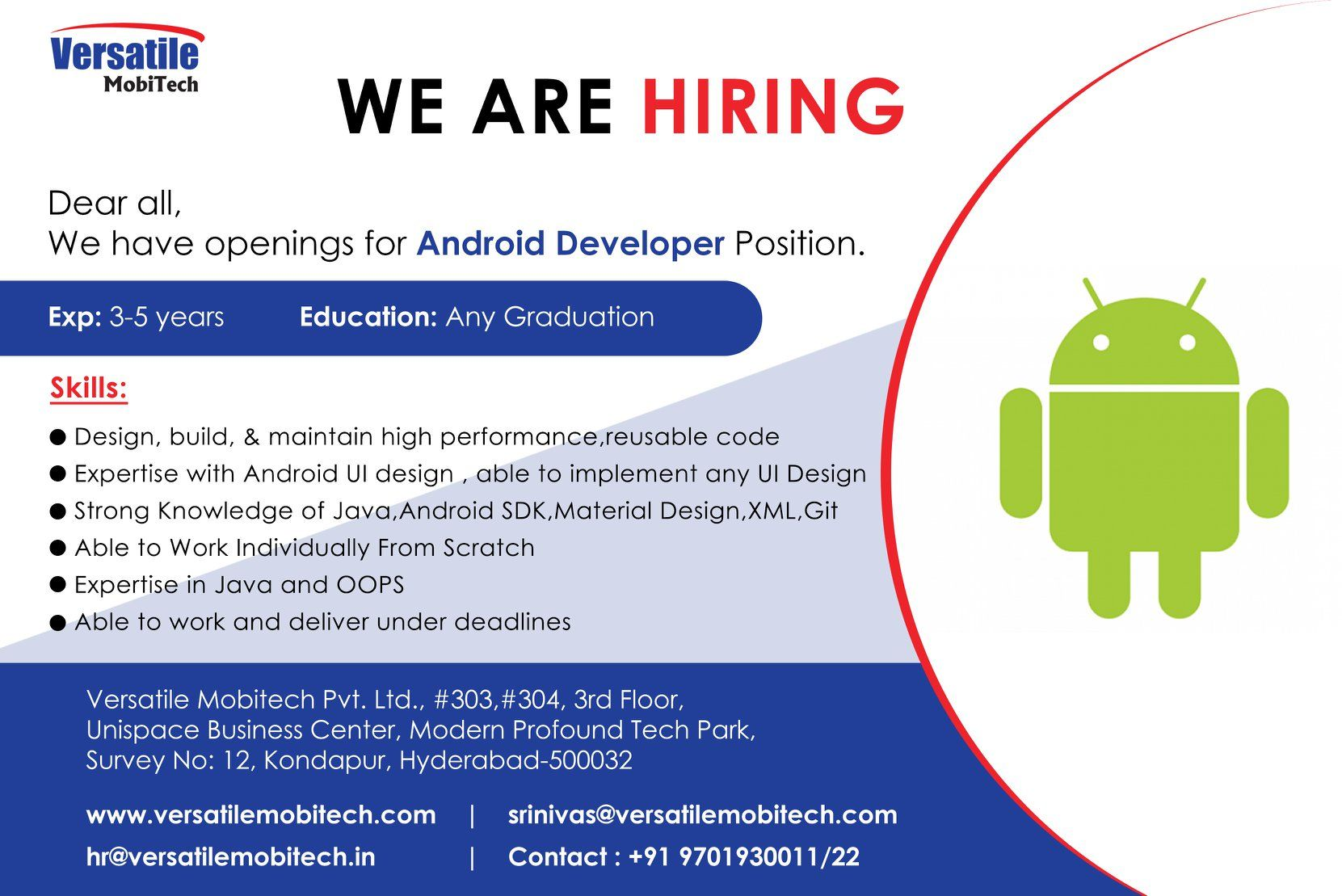 WE ARE HIRING Android Developer android developer