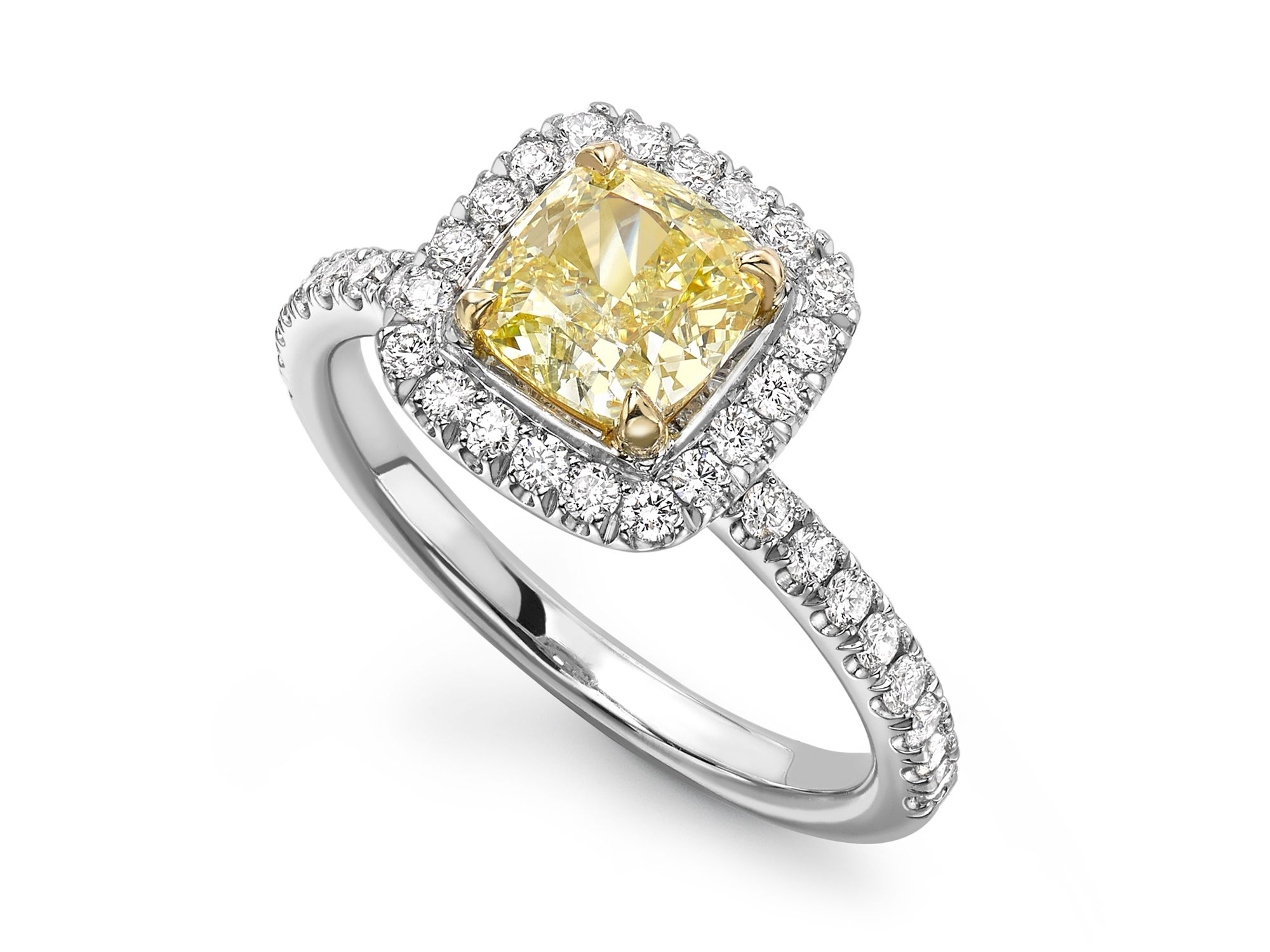 Yellow Diamond Platinum Ring • 'Bali' (With images