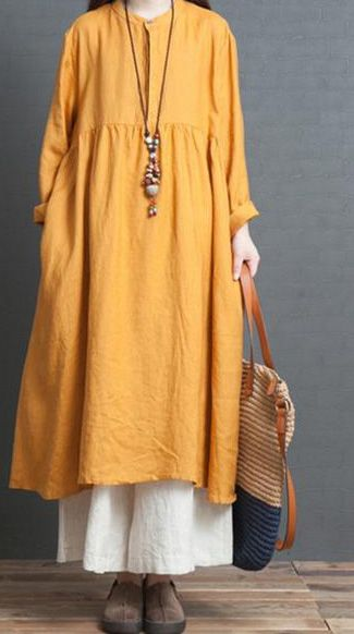 Elegant Loose Plus Size Linen Dresses For Women