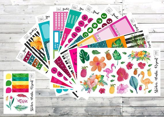 Tropical vibes planner sticker kit deluxe planner stickers erin condren planner stickers planner stickers weekly kit ec sticker kit