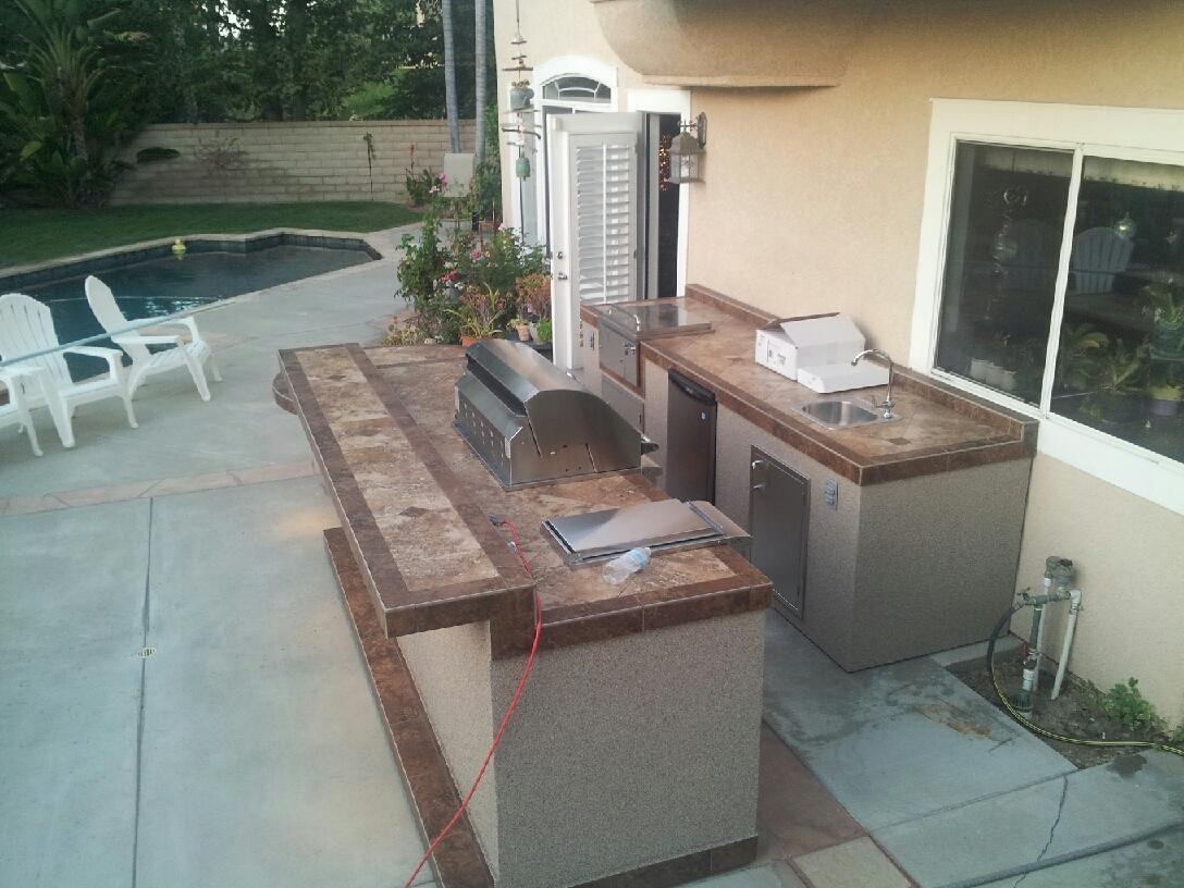 custom bbq island two piece unit delta heat heat grill fridge