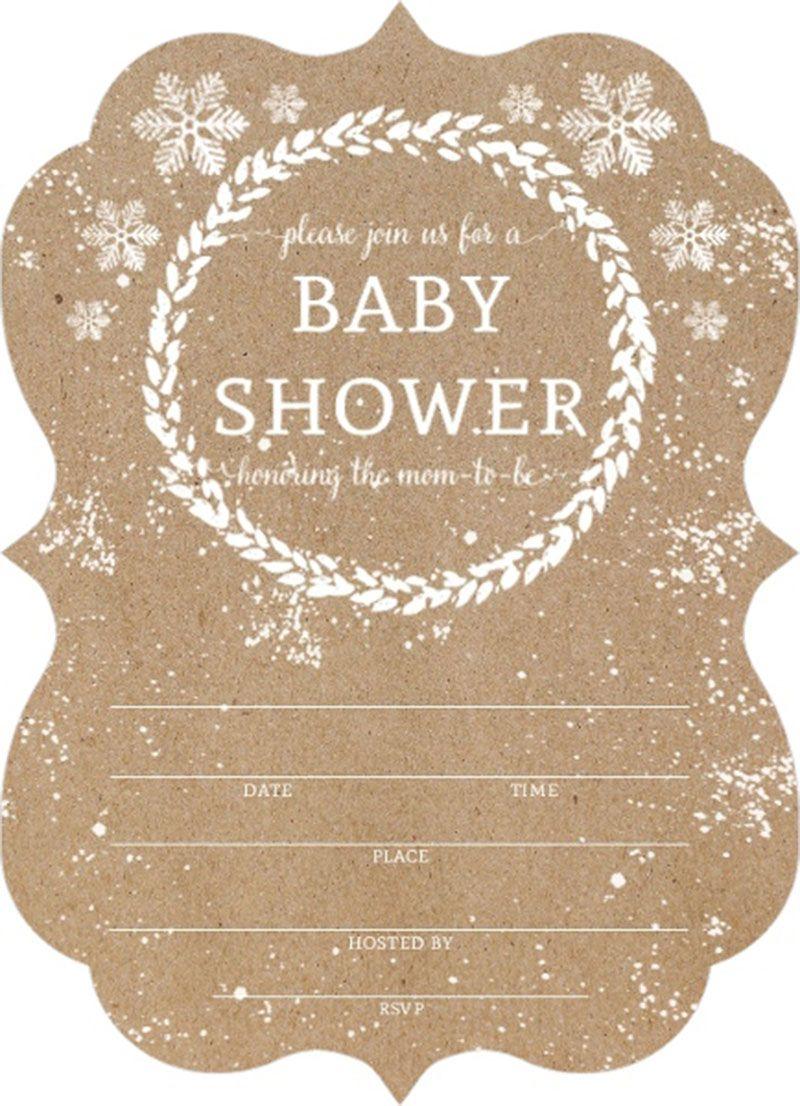 Affordable Kraft Snowfall Fill In Blank Baby Shower Invitation ...