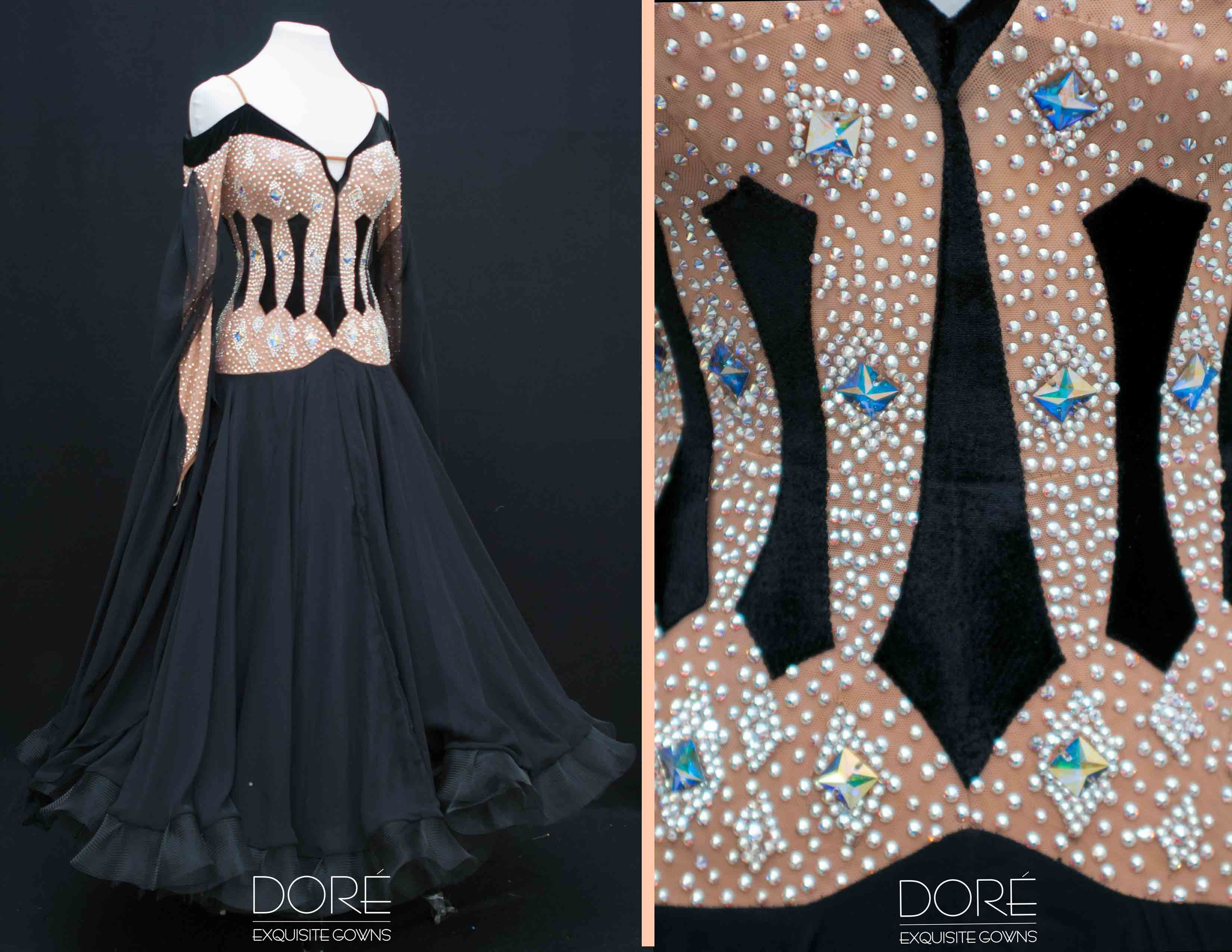 Nude and Black Velvet Accents Standard with Black Chiffon Godets and Floats