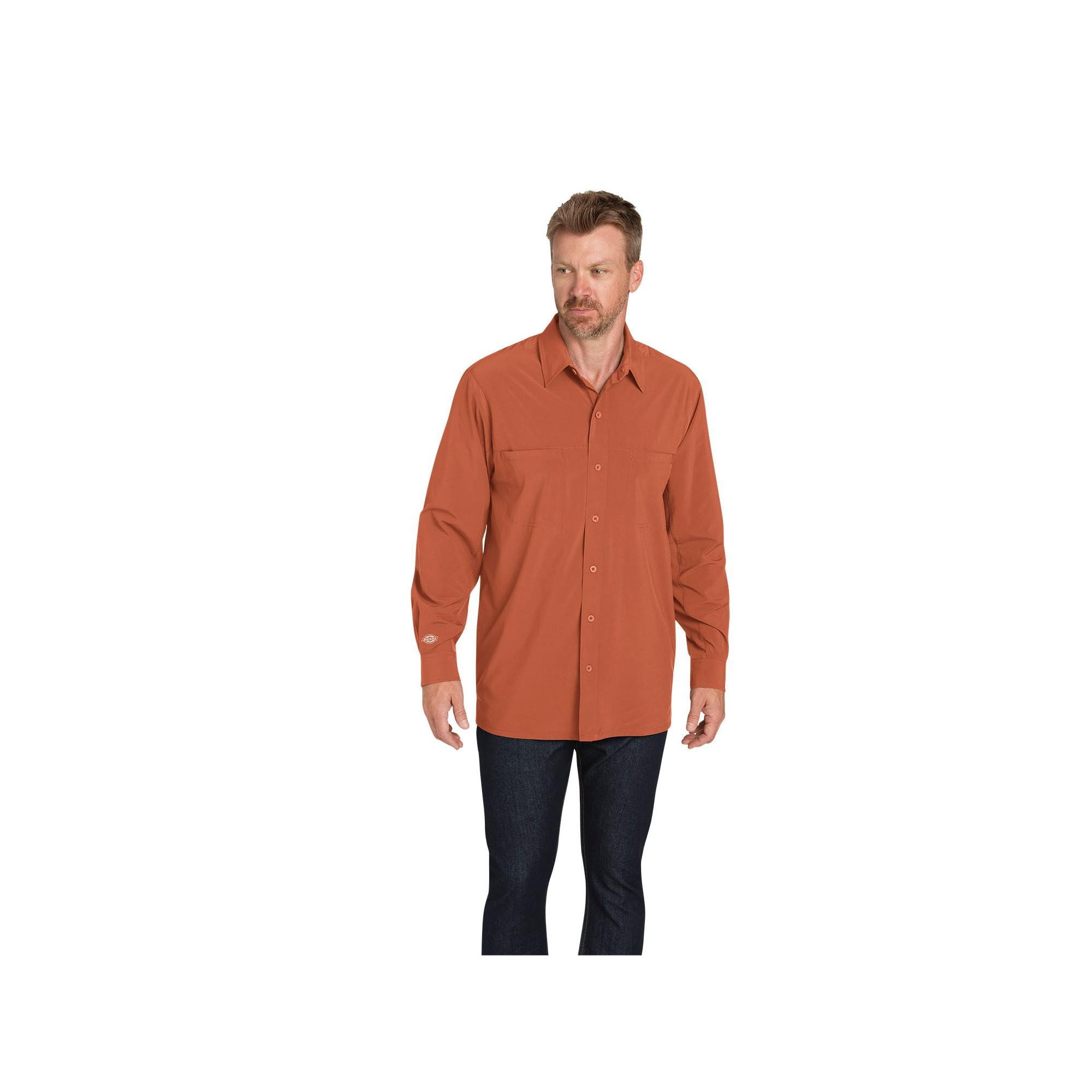 Dickies Men S Cooling Flex Long Sleeve Shirt Spice M Size