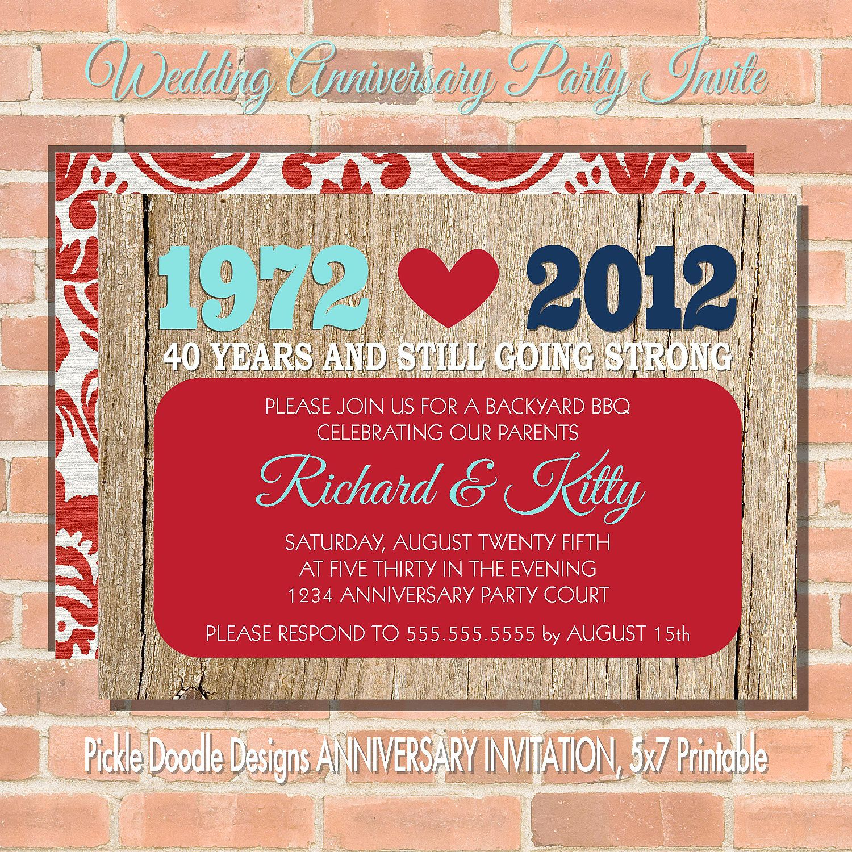 Anniversary Party Invitation, Red Navy & Aqua 5x7 printable. $14.00 ...