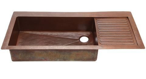 Standard Copper Kitchen Sink with Attached Drainboard | Copper Sinks ...