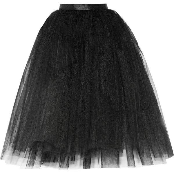 Ballet Beautiful Tulle skirt ($165) ❤ liked on Polyvore featuring skirts, bottoms, black, gonne, tulle skirt, black knee length skirt, black layered skirt, ballerina skirt and black full skirt