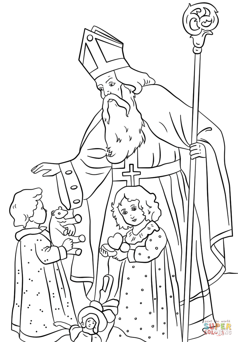 St Nicholas Greets Children Super Coloring In 2020 St Nicholas Day Coloring Pages Saint Nicholas
