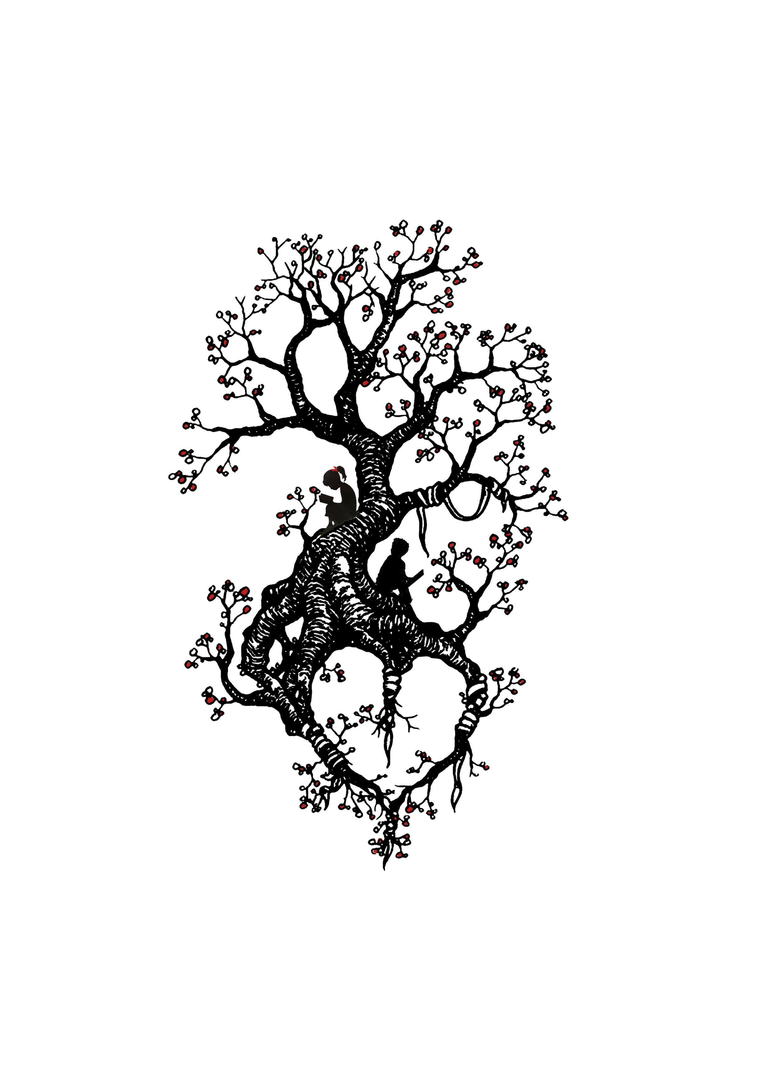 tree tattoo design with kids reading | tattoo ideas | pinterest