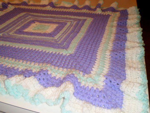 Baby blanket or lapghan, granny ruffled