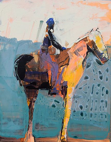 "Horse and Rider in Teal by Dominique Samyn Acrylic and Venetian Plaster on Wood ~ 14"" x 11"""
