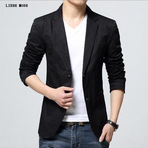 Mens Cotton Formal Blazers Casual Suit Coat For Men Office Wear Slim Fit Blazer Grey Black Khaki
