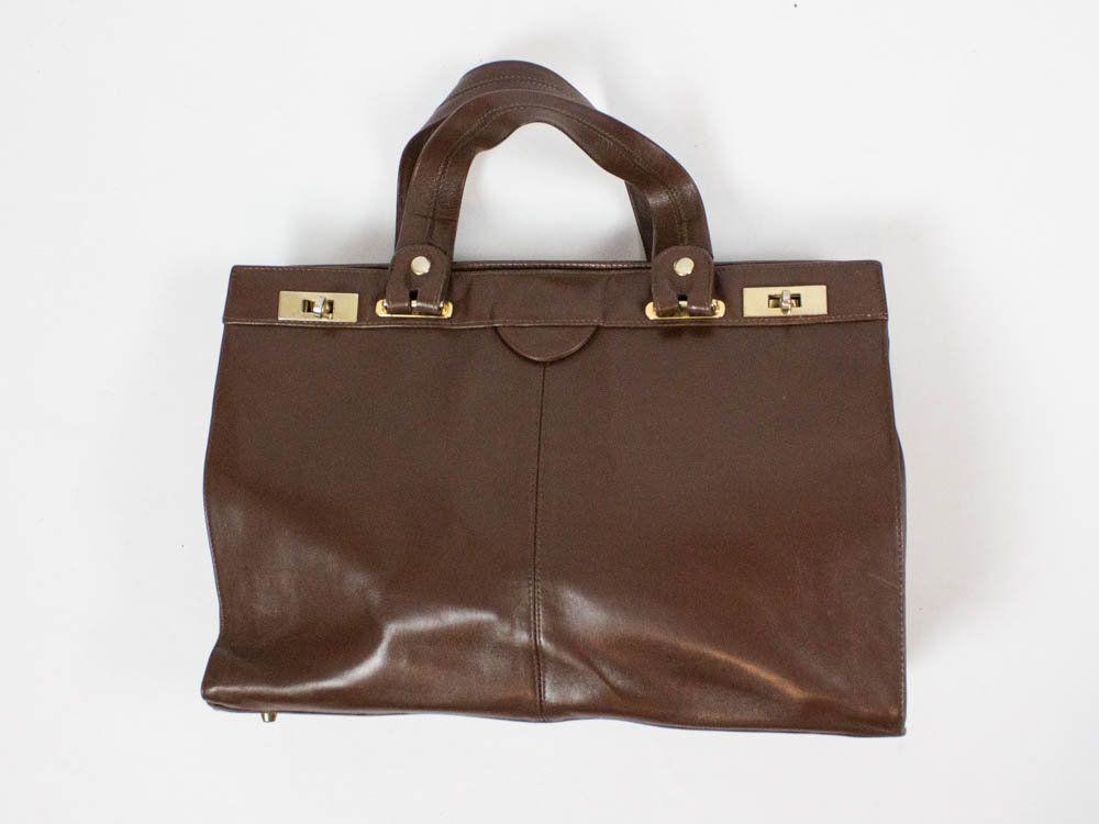 70s Vintage Handbag Brown Leather Bag