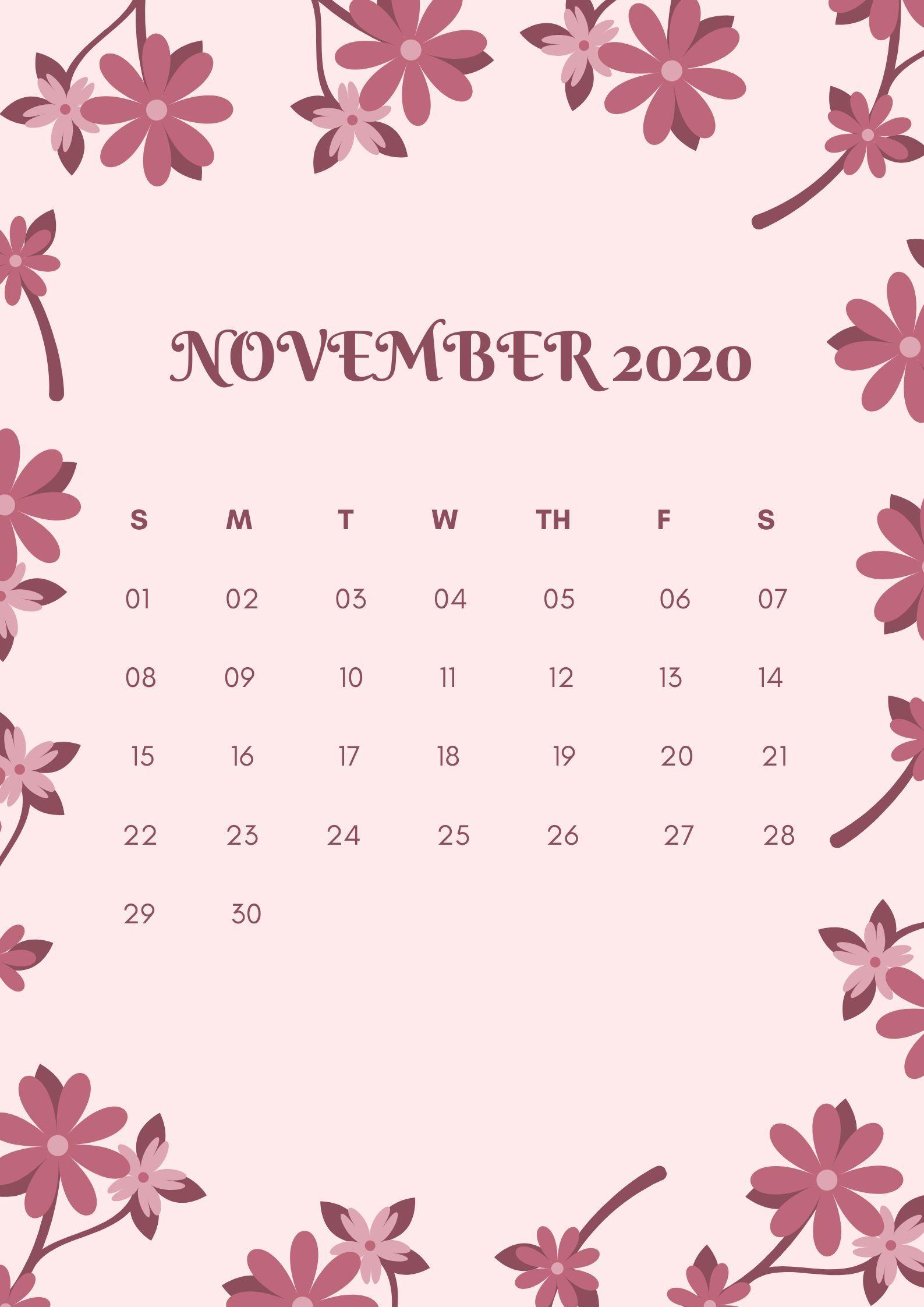 2020 Floral Printable Monthly Calendar Download Calendar
