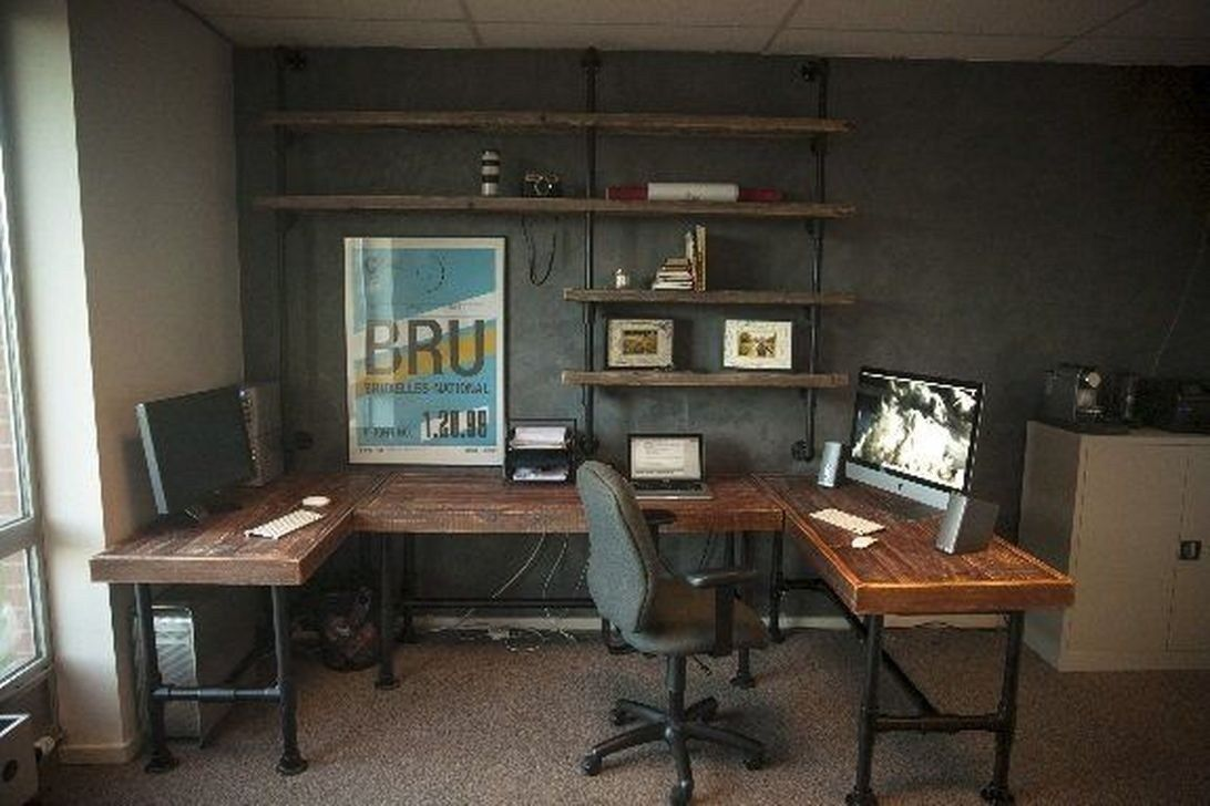 Amazing Home Office Design Ideas With Rustic Style Furnitures 08