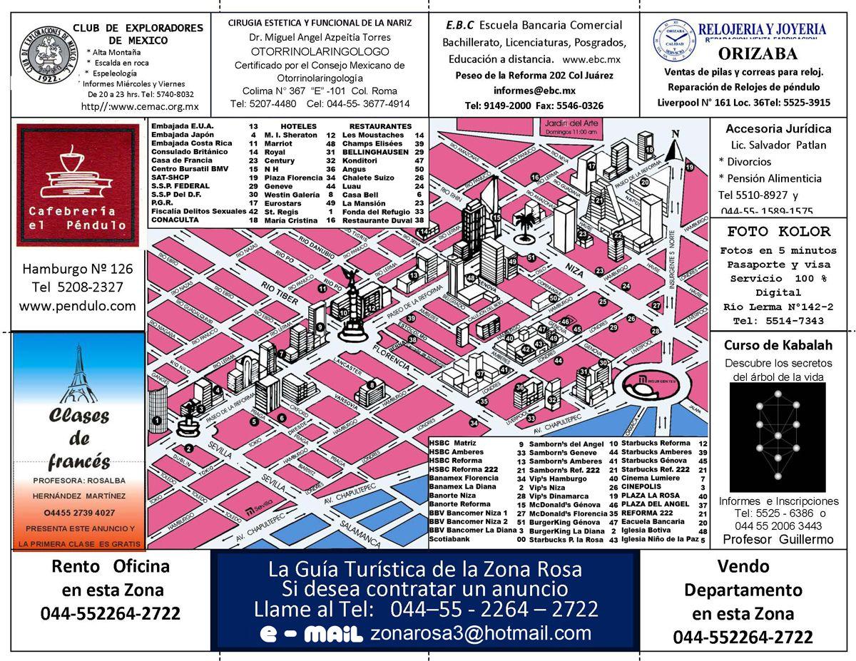 Zona Rosa: Mapa turistico | Mexico City | Mexico city, Travel items on