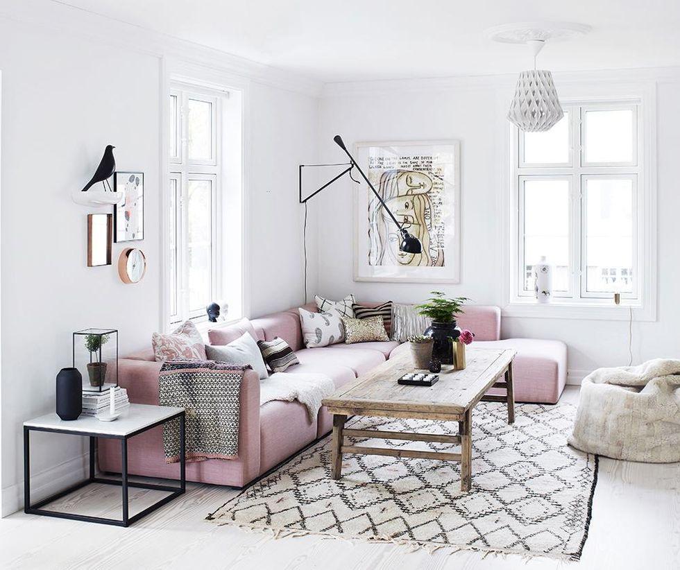 Rose Quartz Accents Living Room Scandinavian Home Living Room Room Design