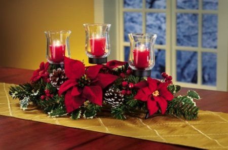 Amazon Com Christmas Poinsettia And Pinecone Candle Holder Centerpiece By Collections Etc Christmas Centerpieces Christmas Table Decorations Christmas Candle