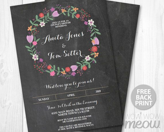 Engagement Party Invite Couples Shower Invitation Chalk Rustic - free engagement party invites