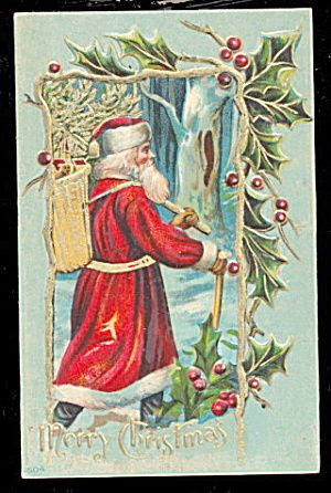Santa Claus with Staff & Bag 1908 Postcard. Click on the image for more information.