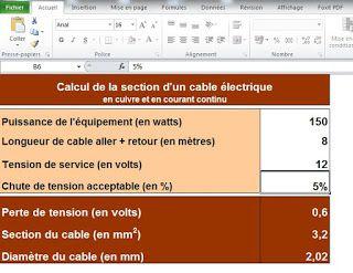 excel de calcul de section de c ble lectrique electricite pinterest cable electrique. Black Bedroom Furniture Sets. Home Design Ideas
