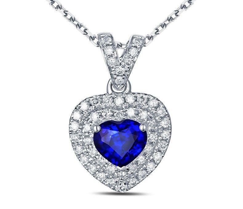 Pendentif cœur Saphir et Diamant or blanc 18 ct