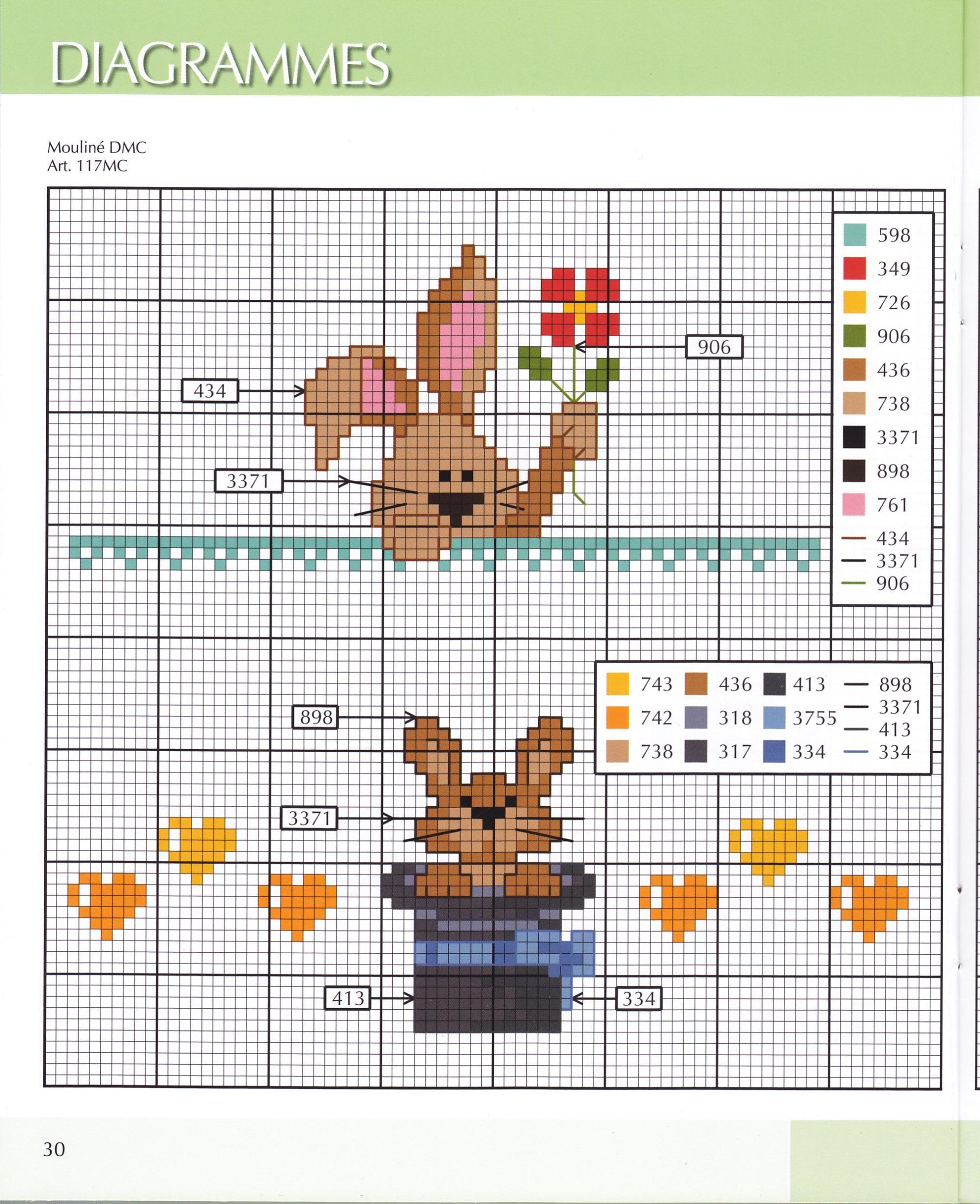 bunnies cross stitch. Punto cruz conejos | Punto croce | Pinterest ...