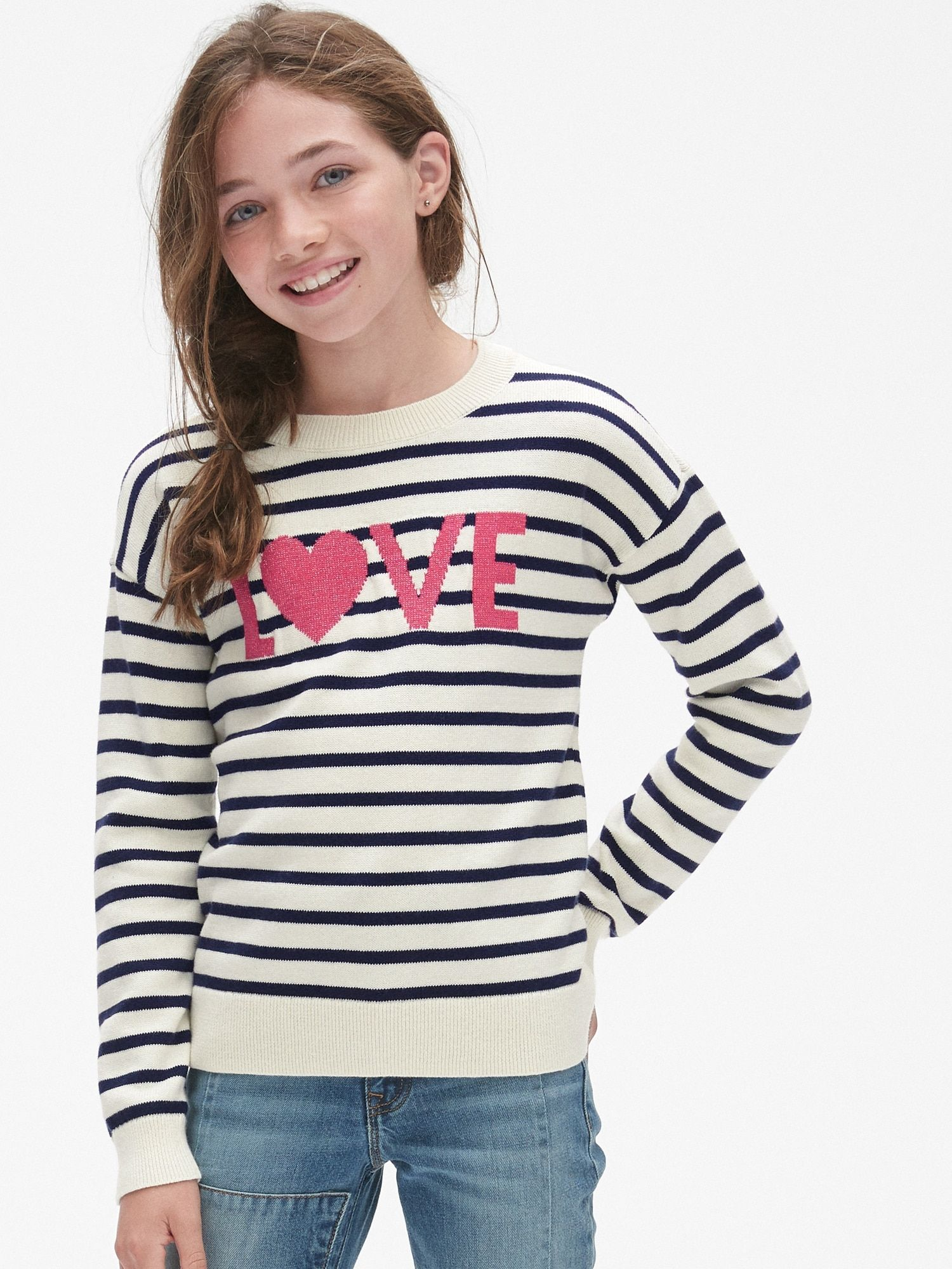 Stripe Metallic Graphic Sweater Gap Graphic Sweaters Girl Outfits Sweaters [ 2000 x 1500 Pixel ]