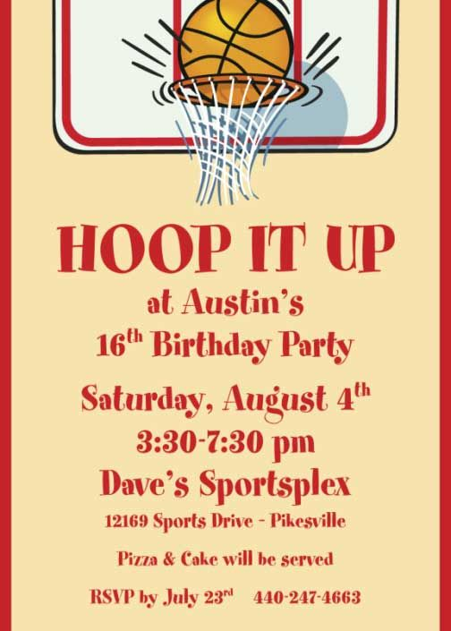 basketball party invitation wording  sports party, party invitations
