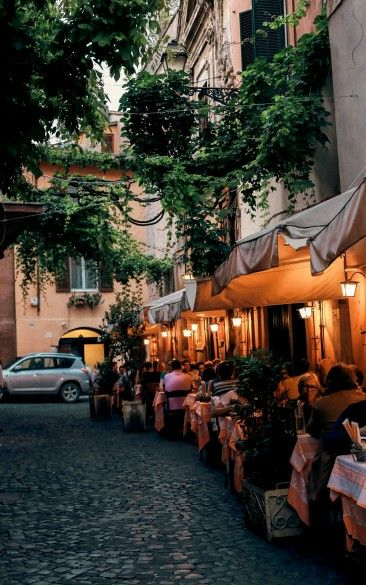 Barrio Del Trastevere Nocturna Las Terrazas Roma Italia