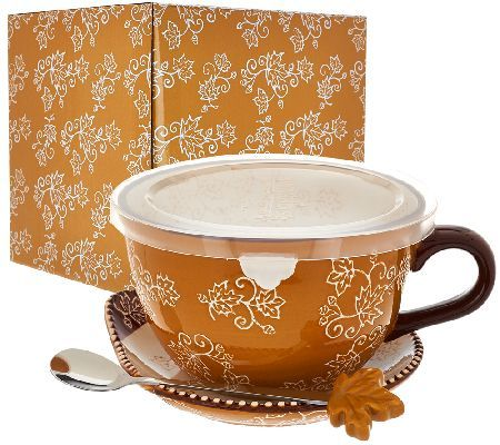 Floral Lace 24 Oz Soup Mug With Lid It Spoon And Gift Box Temp