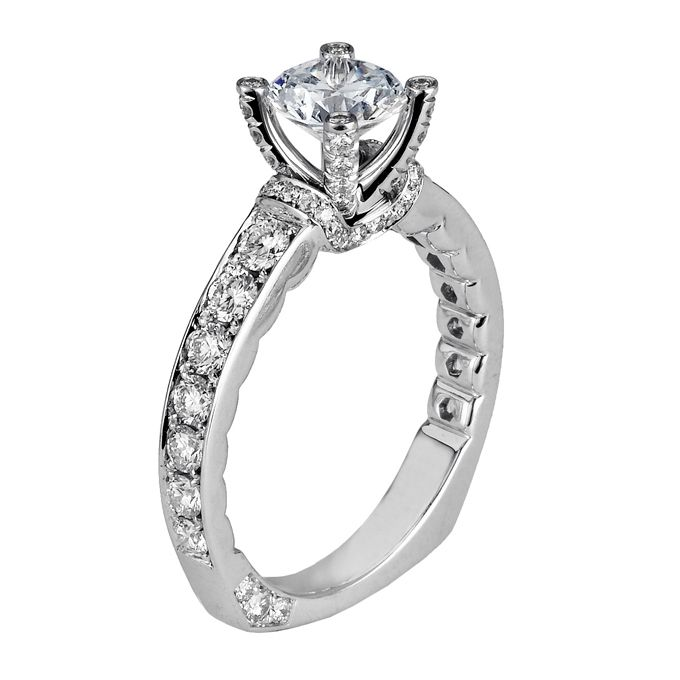 Brides Michael M Handcrafted pave and USet diamond ring with