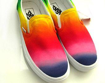 c50cfe324d4 Custom handpainted rainbow VANS Slip On