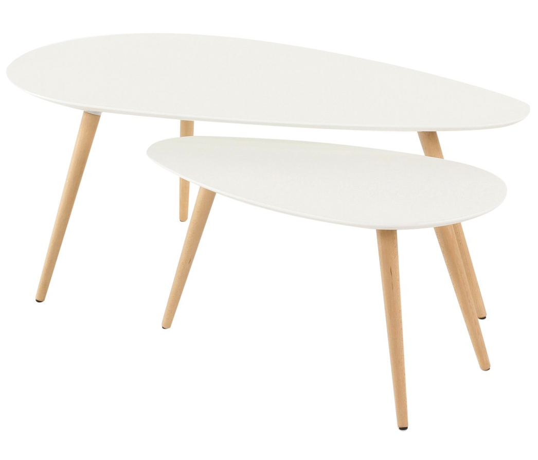 Set De 2 Tables Basses Gigognes Scandinaves En Bouleau Blanc Laque Pietement Conique Collection Harold Table Basse Gigogne Table Basse Bouleau Blanc