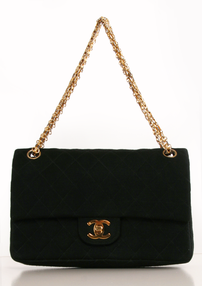 Chanel Classic Quilted Fabric Double Flap Shoulder Bag I Think