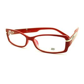 a19d87f4be Amazon.com  Womens Clear Lens Eyeglasses Curved Rectangular DG Eyewear  Glasses Frame Red  Clothing