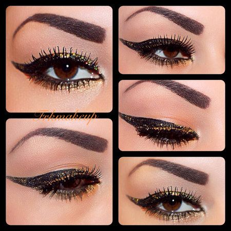 Golden eyeliner - #goldliner #eyemakeup #eyeliner #blackliner #eyes #makeup #diamondglitter #frkbeauty - bellashoot.com & bellashoot iPhone & iPad app