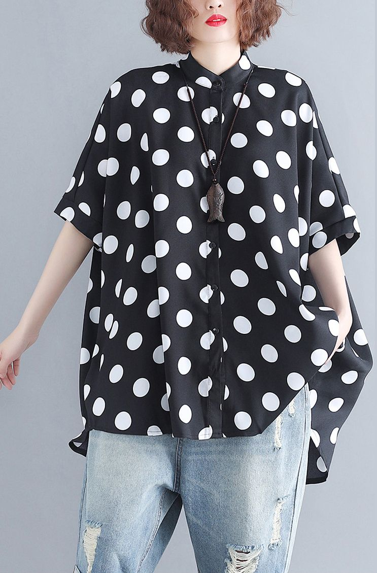b5fca1467d7c18 top-quality-black-chiffon-pullover-plus-size-traveling-blouse-New- asymmetrical-design-dotted-Stand-half-sleeve-blouses