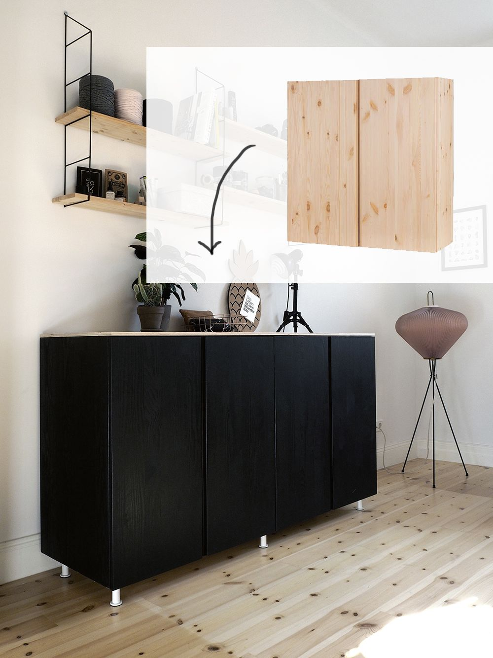ikea hack wie du aus ivar schr nken ein cooles sideboard machst ikea hacks pinterest. Black Bedroom Furniture Sets. Home Design Ideas