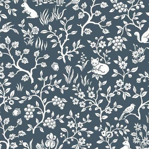 ME1572 Wallpaper Botanical Fox & Hare Navy wallpaper