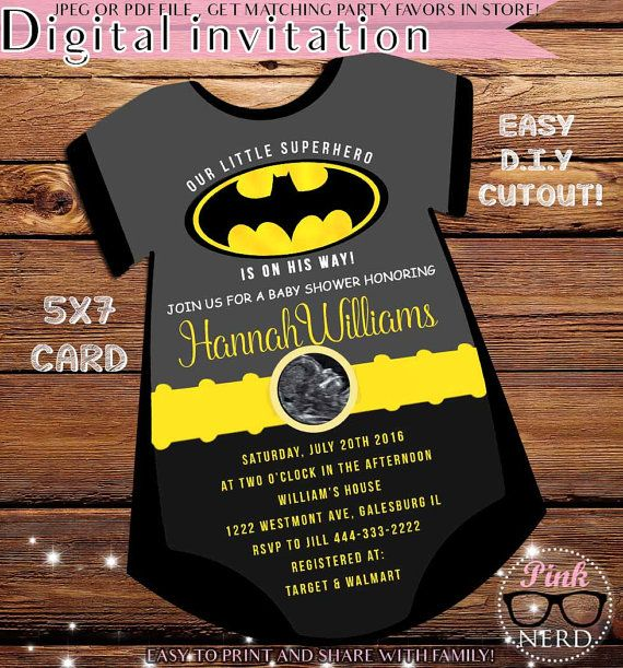 Superb Superhero Baby Shower Invitation Batman Baby Shower Invitation Easy D.y  Cutoutu2026