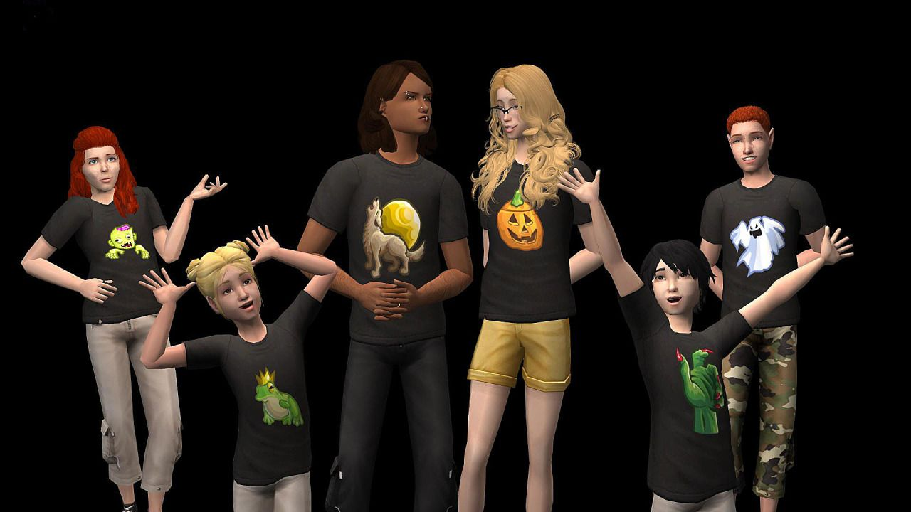 Sims Influence - Spooky recolors of Fanseelamb PJ tee top ...